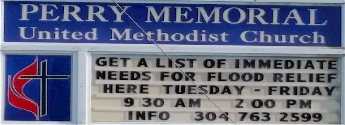 sign flood relief info